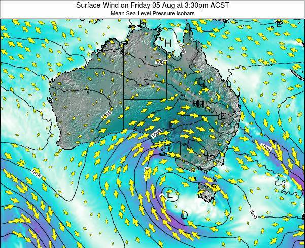 South-Australia Surface Wind on Friday 25 Jul at 3:30pm CST