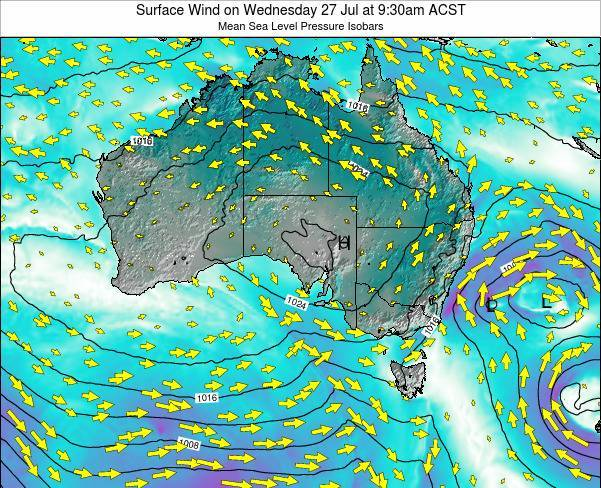South-Australia Surface Wind on Wednesday 12 Mar at 10:30pm CST