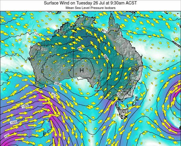 South-Australia Surface Wind on Saturday 25 Oct at 10:30pm CST