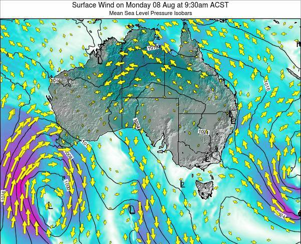 South-Australia Surface Wind on Saturday 02 Aug at 3:30pm CST