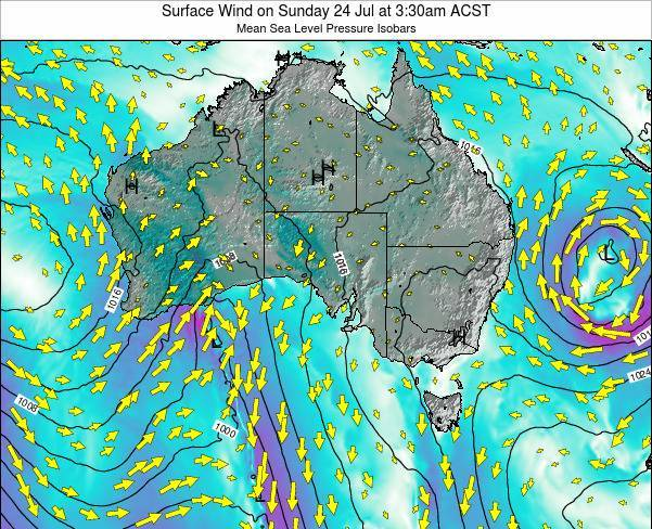 South-Australia Surface Wind on Tuesday 10 Dec at 10:30pm CST
