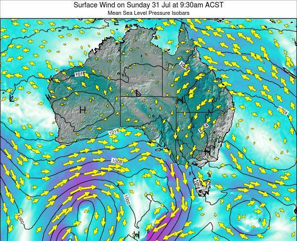 South-Australia Surface Wind on Saturday 26 Apr at 3:30pm CST