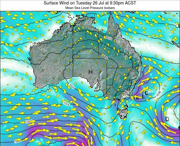 South-Australia Surface Wind on Friday 14 Mar at 4:30am CST