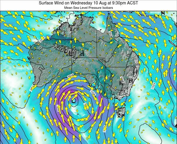 South-Australia Surface Wind on Saturday 23 Aug at 3:30pm CST