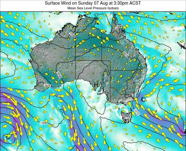 South-Australia Surface Wind on Wednesday 24 Jan at 10:30pm ACDT map