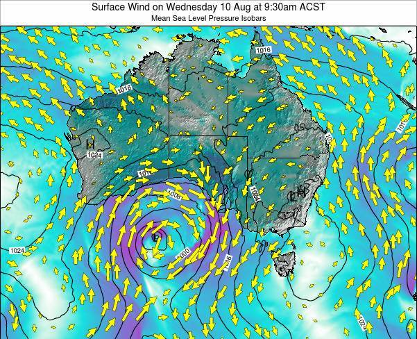 South-Australia Surface Wind on Friday 21 Jun at 3:30pm CST