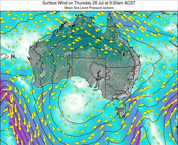 South-Australia Surface Wind on Saturday 05 Dec at 10:30am ACDT