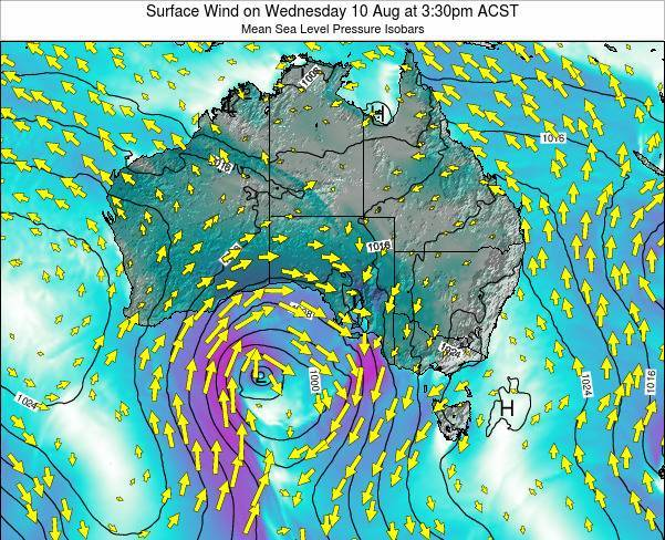 South-Australia Surface Wind on Sunday 20 Apr at 3:30am CST