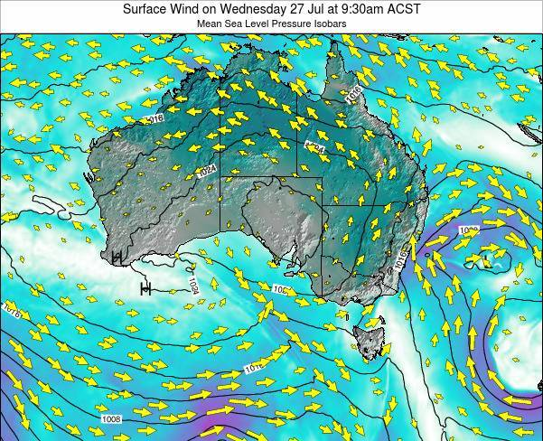 South-Australia Surface Wind on Wednesday 06 Aug at 3:30am CST