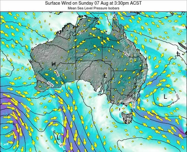 South-Australia Surface Wind on Saturday 15 Mar at 4:30pm CST
