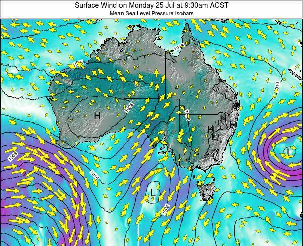 South-Australia Surface Wind on Tuesday 04 Aug at 3:30pm ACST