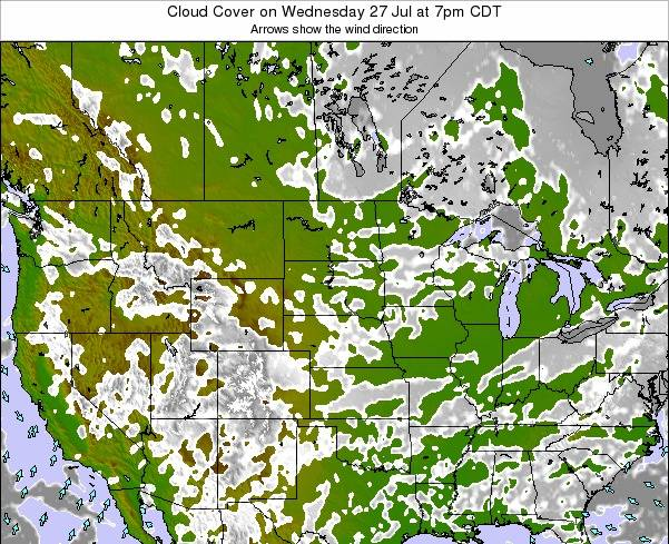 South-Dakota Cloud Cover on Tuesday 12 Dec at 12am CST map