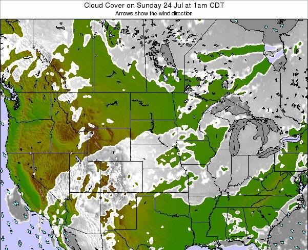 Nebraska Cloud Cover on Friday 24 May at 1am CDT map