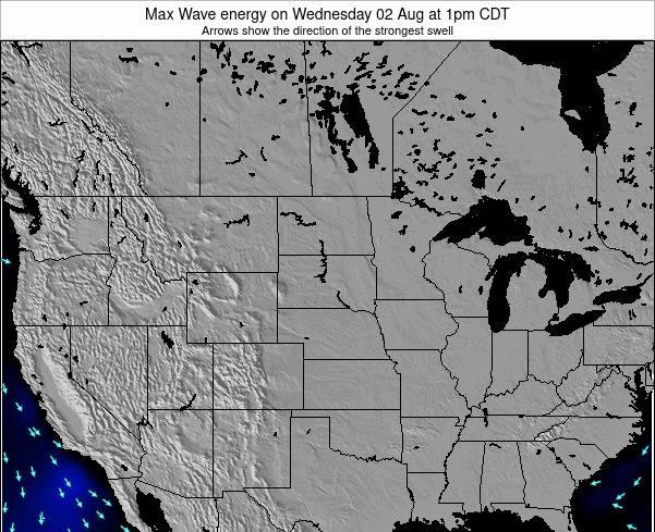South-Dakota Max Wave energy on Monday 15 Oct at 1am CDT map