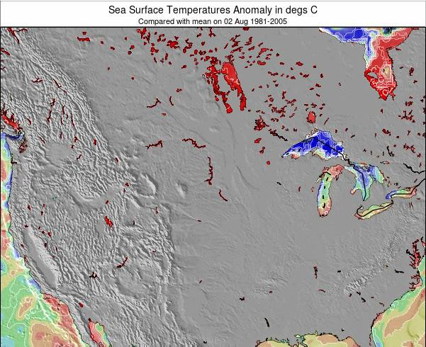 South-Dakota Anomalies de Température de la Mer Carte