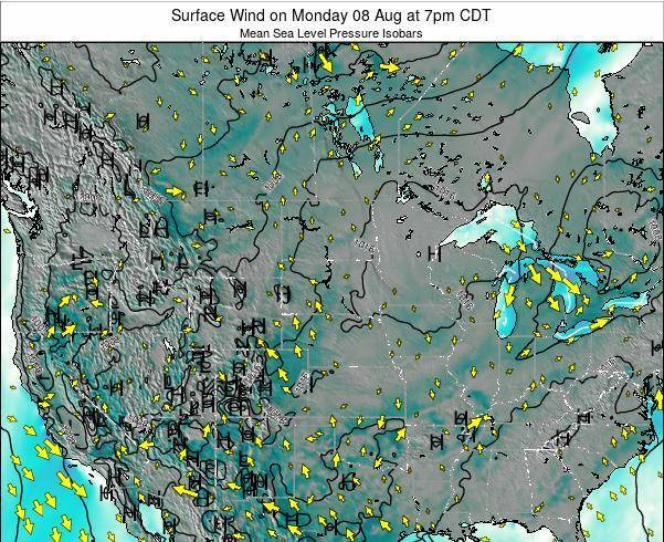 South-Dakota Surface Wind on Saturday 20 Oct at 7am CDT map