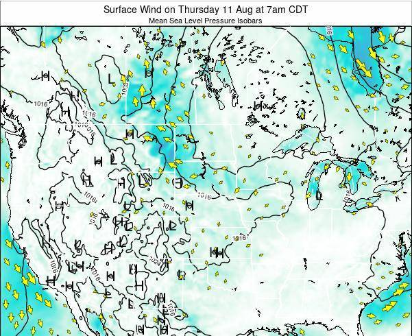 South-Dakota Surface Wind on Wednesday 19 Dec at 12pm CST map