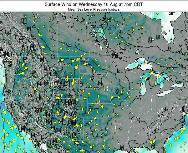 South-Dakota Surface Wind on Friday 21 Dec at 12pm CST map