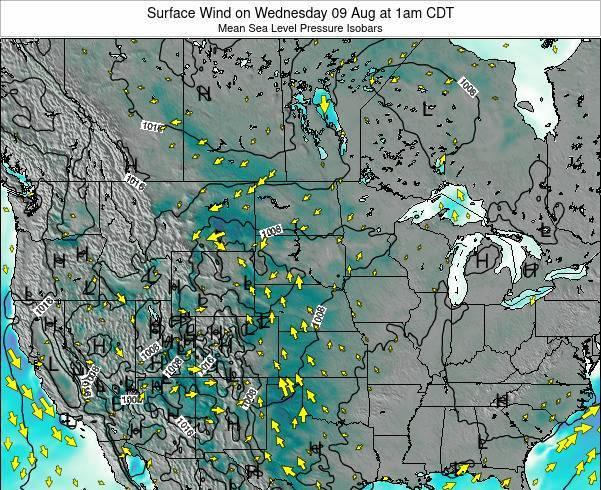 South-Dakota Surface Wind on Monday 22 Oct at 7pm CDT map