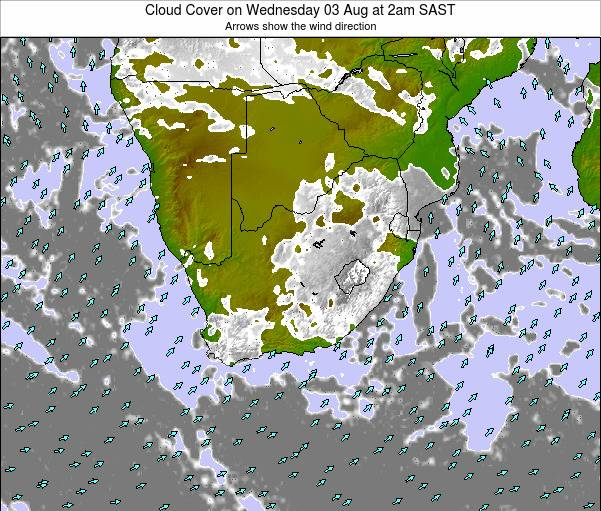 South Africa Cloud Cover on Wednesday 22 Aug at 8am SAST map