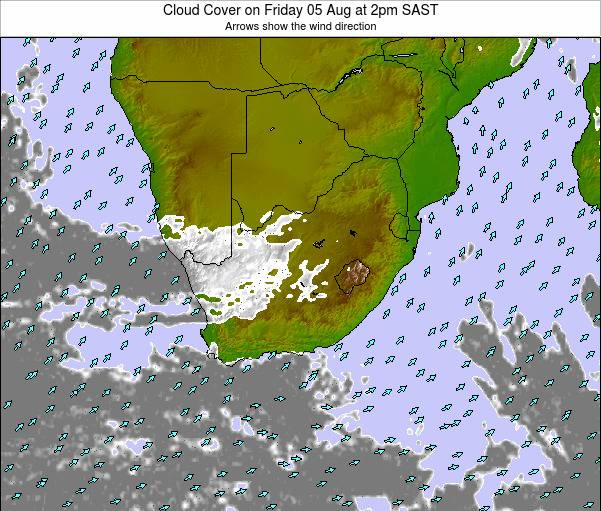 South Africa Cloud Cover on Monday 22 Jan at 2am SAST map