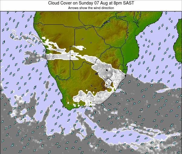 South Africa Cloud Cover on Wednesday 28 Feb at 8pm SAST map