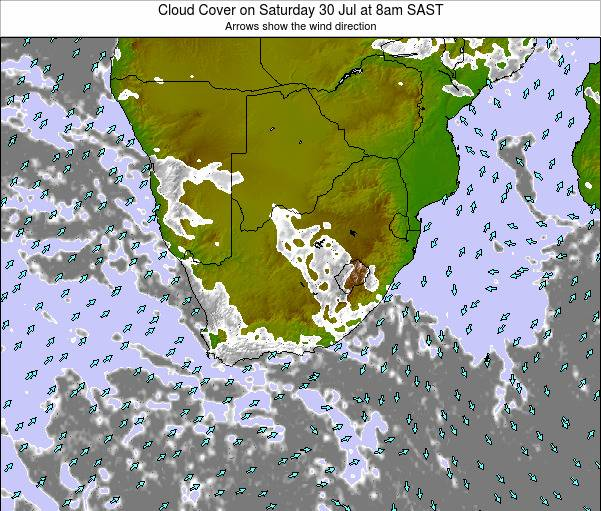 South Africa Cloud Cover on Tuesday 19 Dec at 2pm SAST map