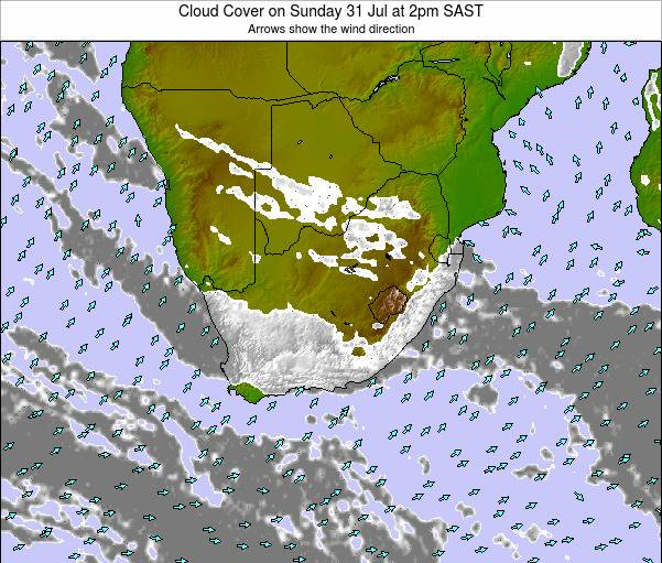 South Africa Cloud Cover on Wednesday 29 May at 2am SAST