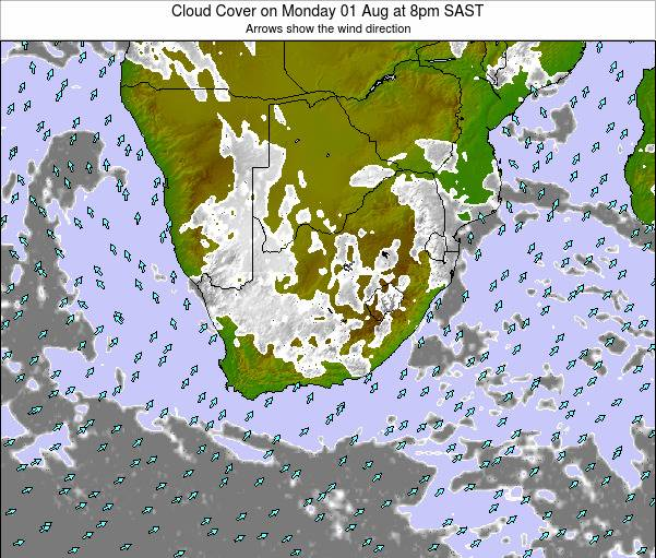 South Africa Cloud Cover on Thursday 24 Jul at 2pm SAST