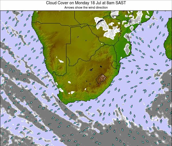 South Africa Cloud Cover on Tuesday 31 May at 2pm SAST