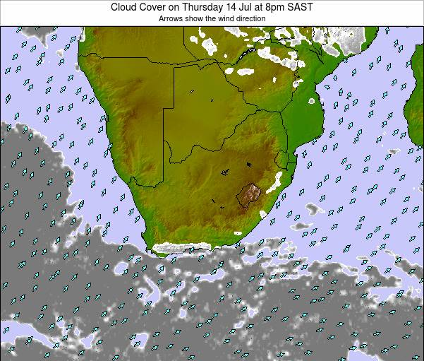 South Africa Cloud Cover on Monday 10 Mar at 8am SAST