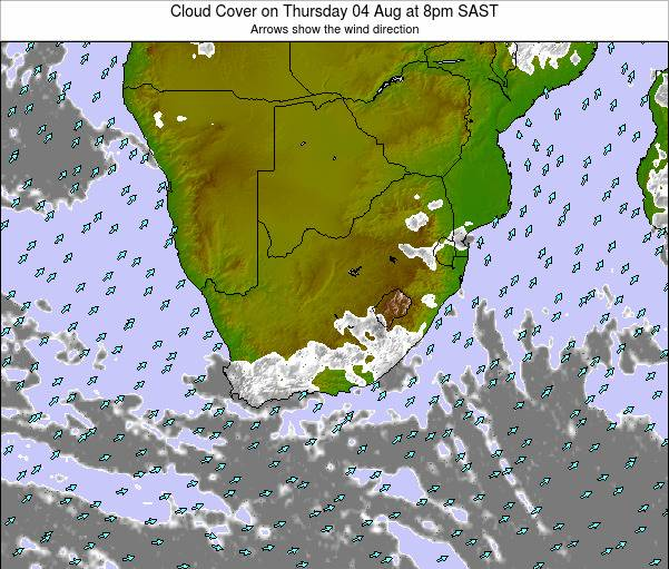 Swaziland Cloud Cover on Monday 20 May at 2am SAST