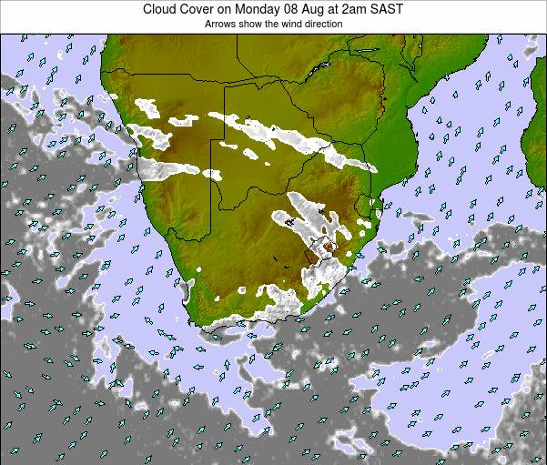 South Africa Cloud Cover on Monday 28 Jul at 2am SAST