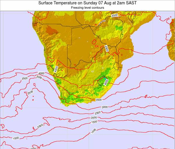 Swaziland Surface Temperature on Friday 31 May at 2am SAST