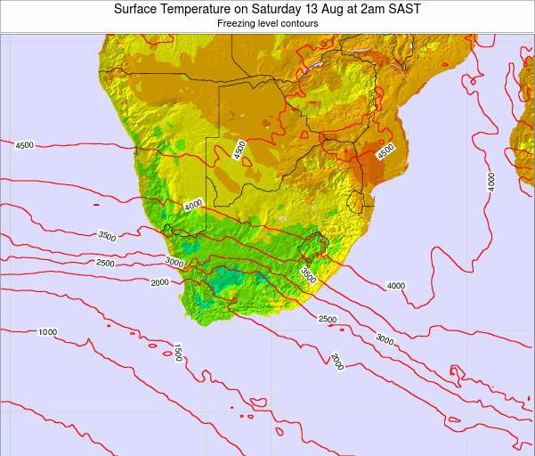 Swaziland Surface Temperature on Tuesday 28 May at 2am SAST
