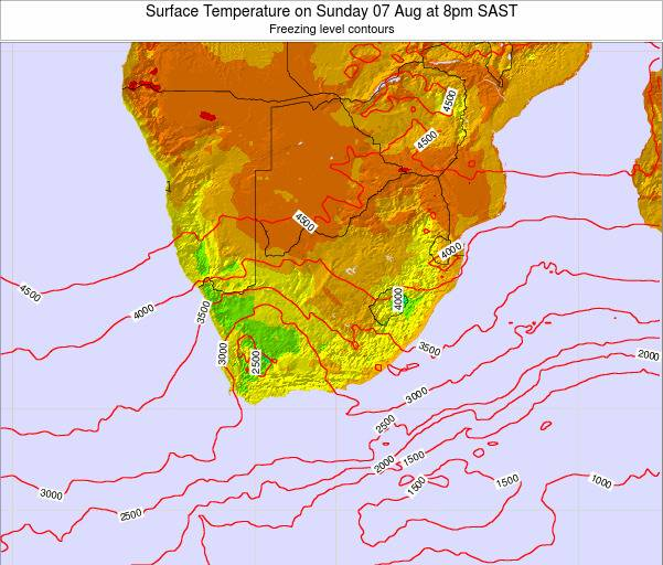 Swaziland Surface Temperature on Tuesday 21 May at 2am SAST