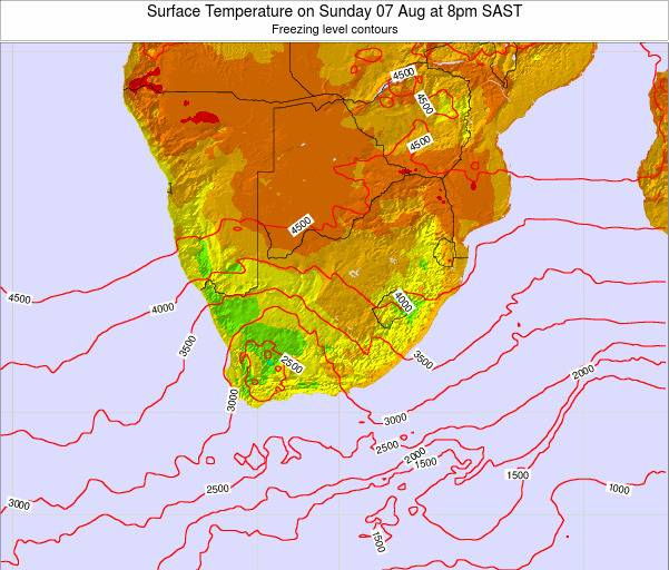 Swaziland Surface Temperature on Monday 27 May at 8am SAST