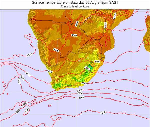 South Africa Surface Temperature on Tuesday 21 May at 2am SAST