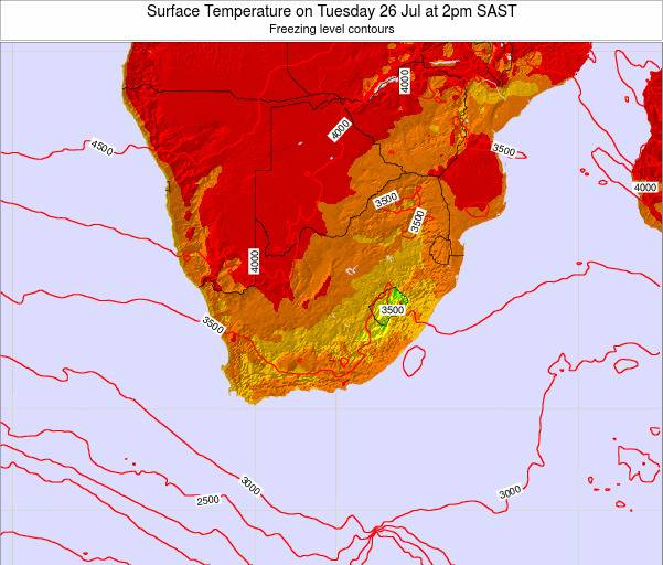 Swaziland Surface Temperature on Sunday 23 Jun at 2pm SAST