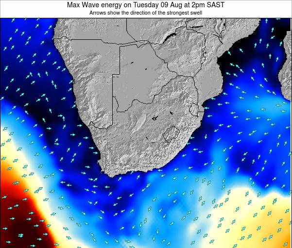 South Africa Max Wave energy on Saturday 25 May at 2pm SAST