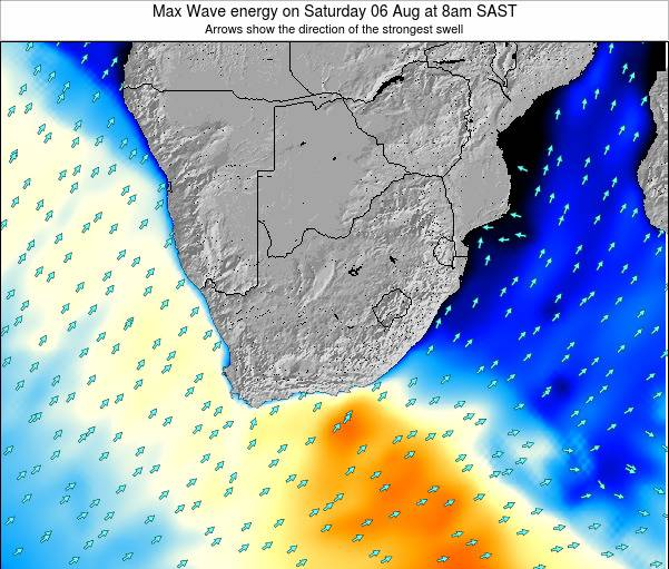 South Africa Max Wave energy on Monday 24 Sep at 2pm SAST map
