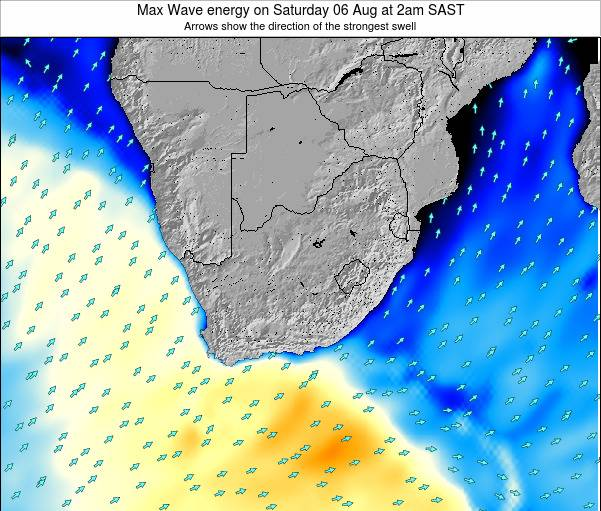 South Africa Max Wave energy on Thursday 18 Jan at 8pm SAST map