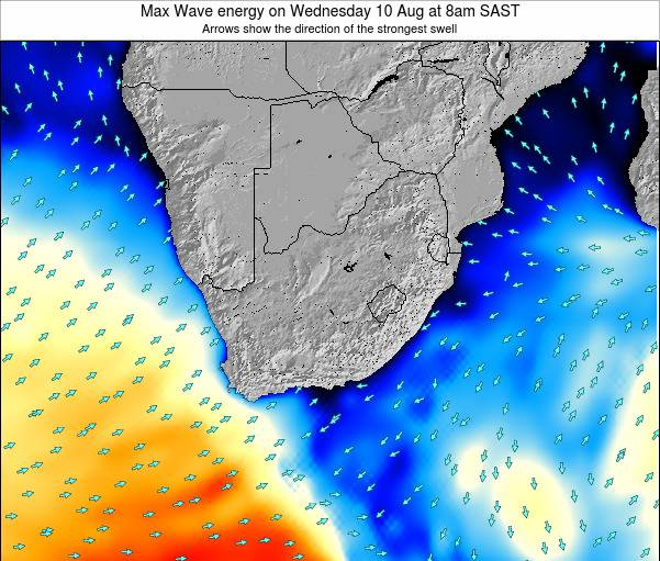 South Africa Max Wave energy on Tuesday 22 Apr at 8am SAST