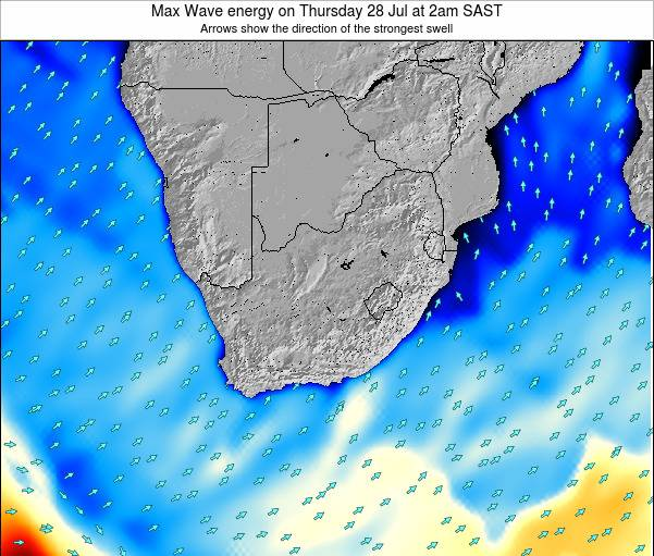 South Africa Max Wave energy on Tuesday 02 Dec at 2am SAST