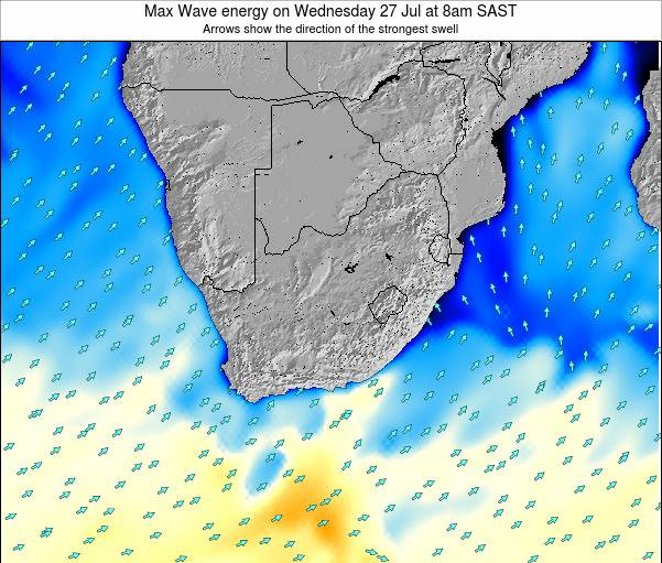 South Africa Max Wave energy on Sunday 03 Aug at 2pm SAST