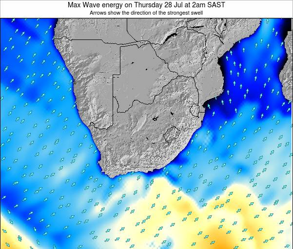 South Africa Max Wave energy on Tuesday 11 Mar at 2pm SAST