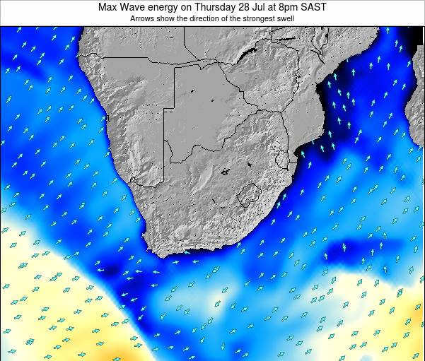 South Africa Max Wave energy on Monday 28 Apr at 8am SAST