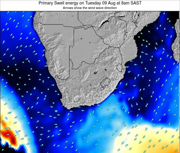 South Africa Primary Swell energy on Tuesday 23 Jan at 2pm SAST map