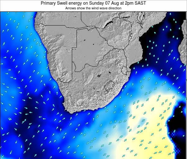 South Africa Primary Swell energy on Sunday 26 May at 2pm SAST
