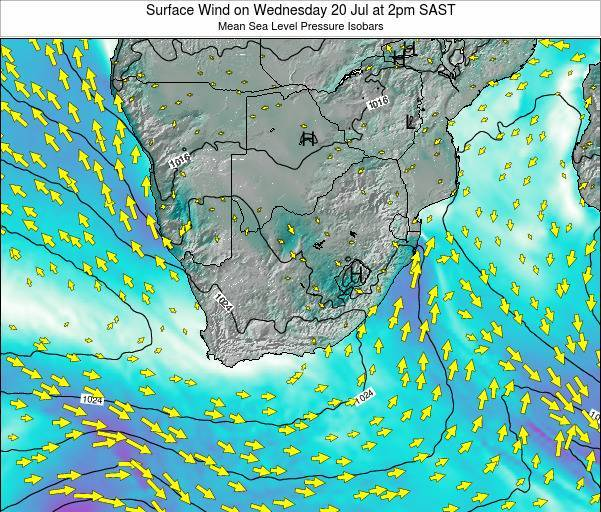 Swaziland Surface Wind on Sunday 02 Apr at 8pm SAST